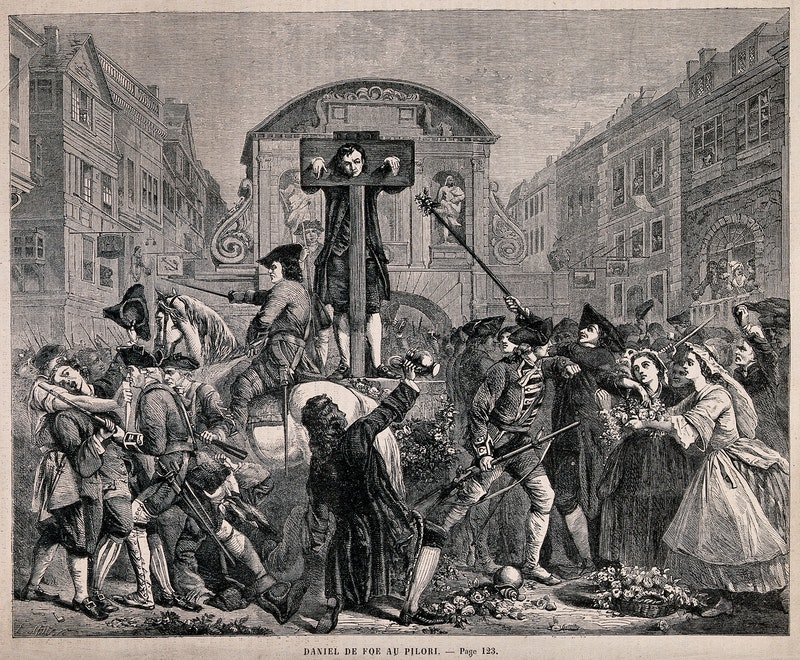 Daniel defoe is standing in the pillory while soldiers have wellcome v0041680.jpg?ixlib=rails 2.1