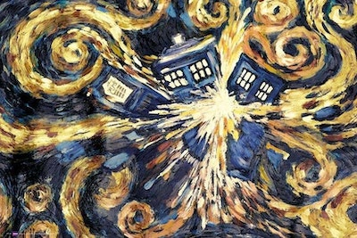 High quality oil painting canvas reproductions doctor who exploding tardis by van gogh painting hand painted.jpg?ixlib=rails 2.1